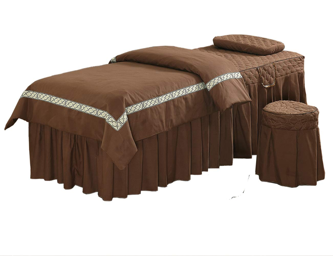 Massage Table Sheet Sets, Pure Color, 4 Pieces, Bedspread with Face Rest Hole, Customizable