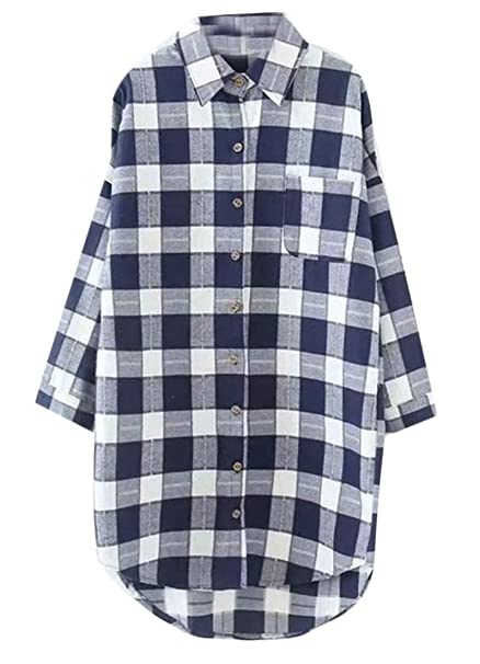583be010926 Lutratocro Women Plus Size Mid-Length Plaid Turn-Down High Low Long Sleeve  Button Front Shirts at Amazon Women s Clothing store