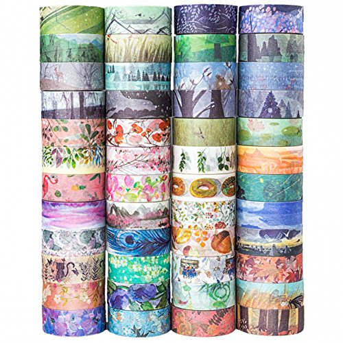 Washington School Student Collection - 48 Rolls Washi Tape Set,Decorative Masking Adhesive Tape for DIY Crafts and Gift Wrapping,Beautify Bullet Journals ,Planners by KOVANO