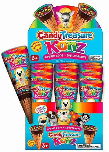 Candy Treasure KONZ | 12 Crispy Waffle Cones with Chocolate Cream & Surprise Toy Puppy Dog | Fudgy Milk Chocolate with Candy Sprinkles | 24 Collectible Toys | Party Favors, Birthdays, Boys, Girls]()