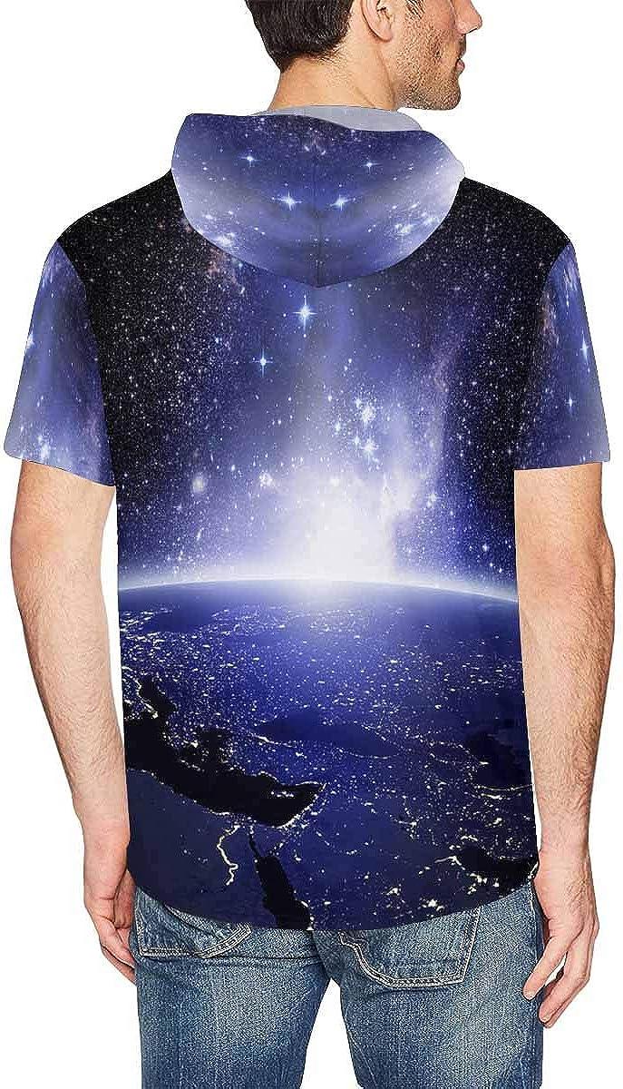 XS-2XL INTERESTPRINT Mens Hoodies Pullover Earth Lights Casual Short Sleeve Hooded T-Shirt