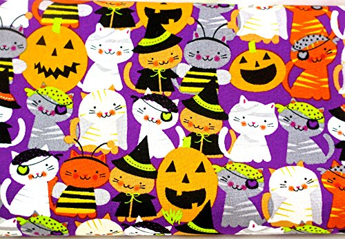 Jo-ann's Halloween Pumpkins&Cats Fabric,rich Colors,1 Yds./36.5