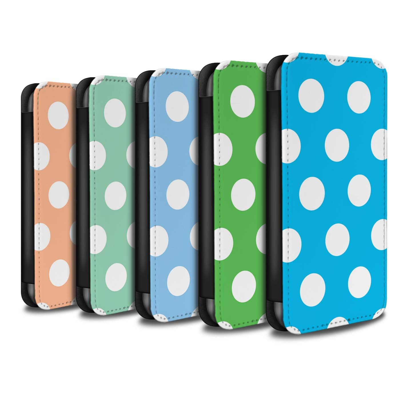 STUFF4 PU Leather Wallet Flip Case/Cover for Apple iPhone X/10 / Pack 10pcs Design / Polka Dot Pattern Collection