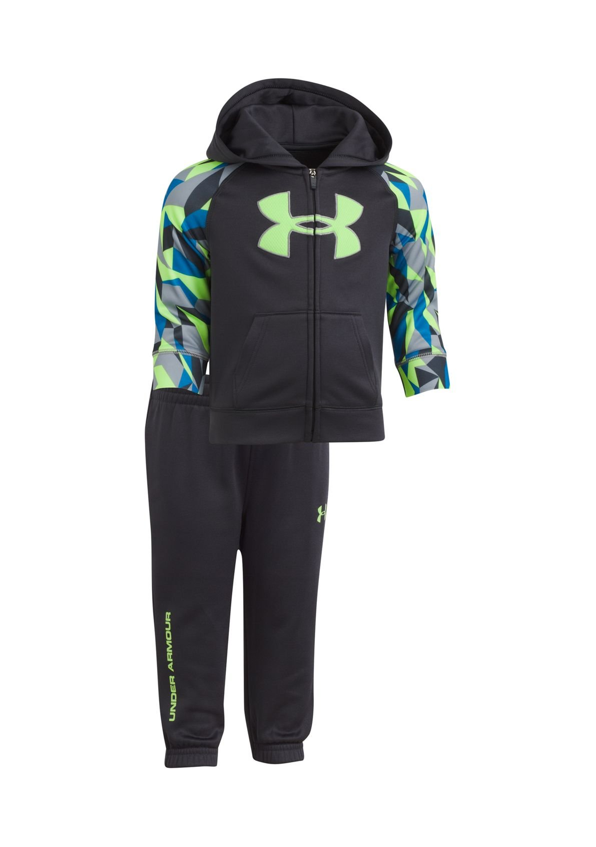 60d300f5 Under Armour Baby Boys' Utility Hoodie Track Set  (Anthracite(27D92058-11)/Geo Print, 0-3 Months)