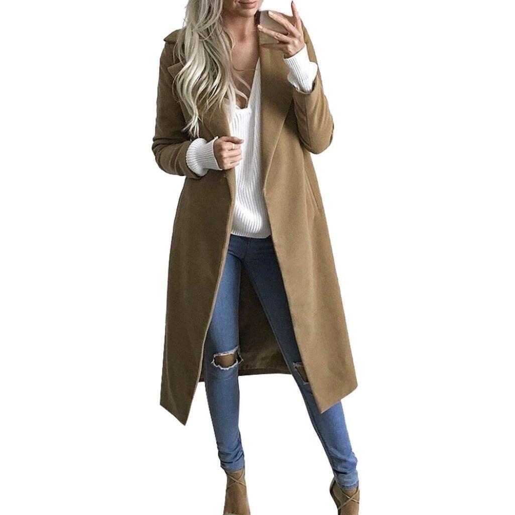 Kimloog Women's Cardigan Outwear, Winter Long Coat Lapel Open Front Winter Trench Parka Jacket Overcoat (S, Khaki)