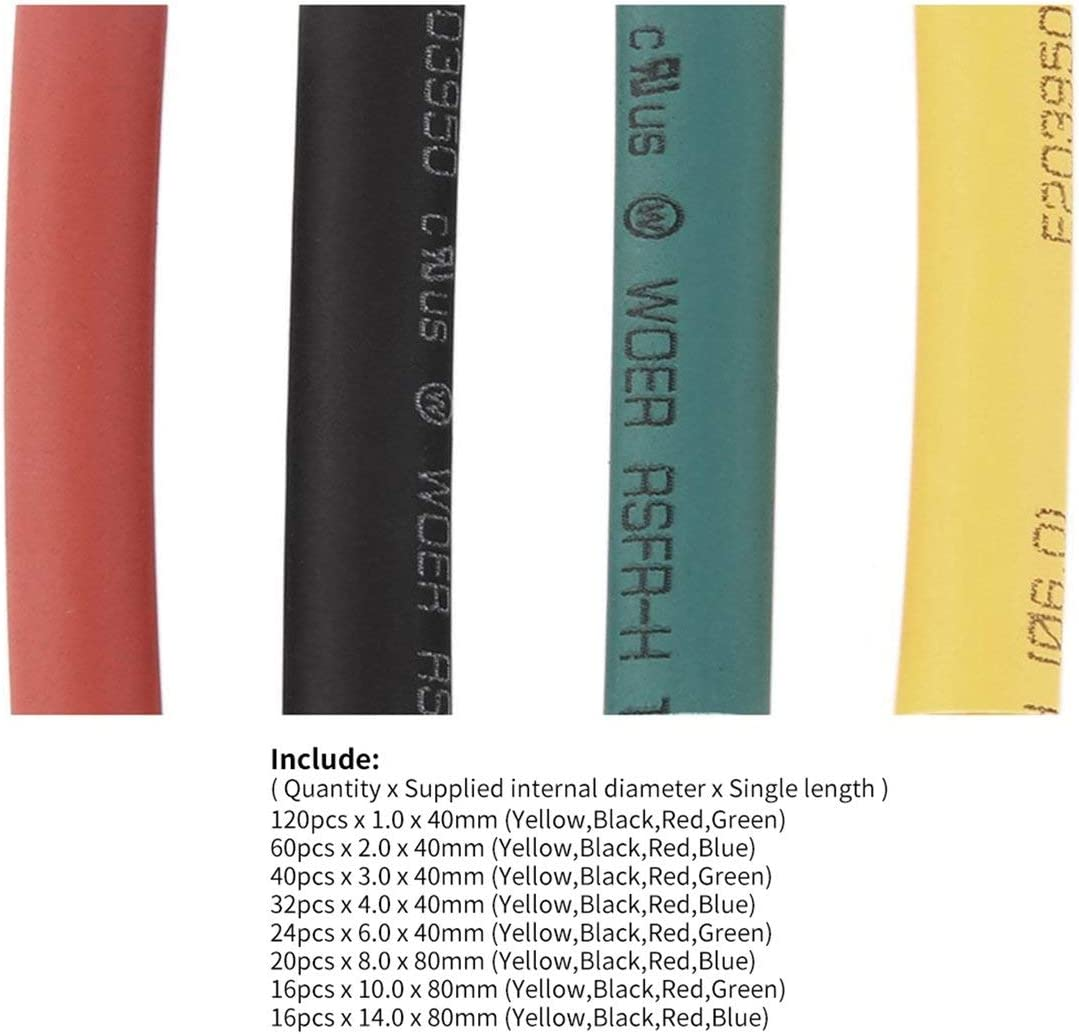328Pcs 5 Farben 8 Gr/ö/ßen 2 1 Schrumpfschlauch-Verpackungs-Verbindungsh/ülse Kit Hei/ße verkaufende Superangebote Mehrfarben Kaemma