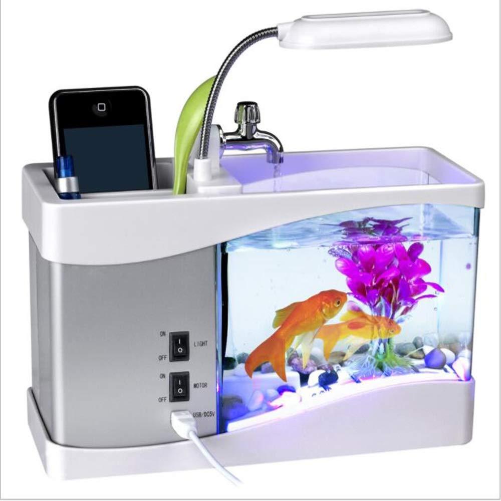 White Nano Fish Tank aquarium with LED Lights & Filtration System (color   White)