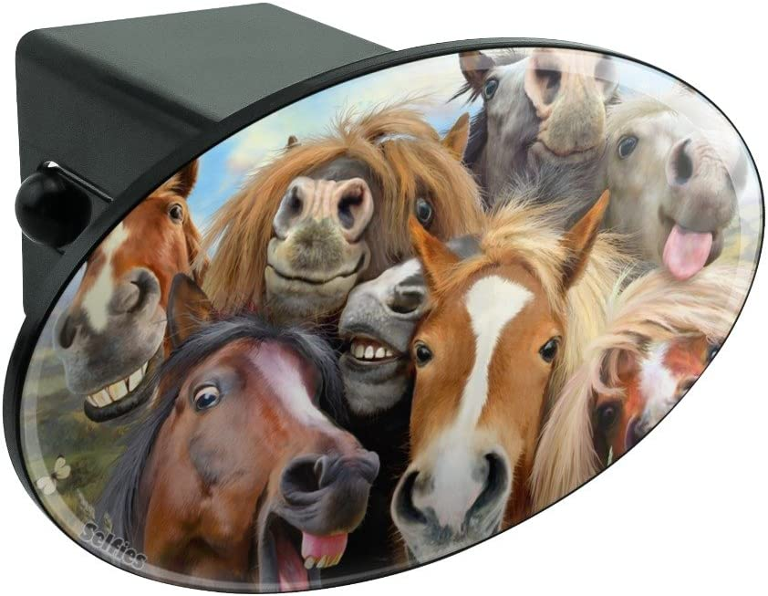 1.25 Graphics and More Horses Selfie Oval Tow Hitch Cover Trailer Plug Insert 1 1//4 inch
