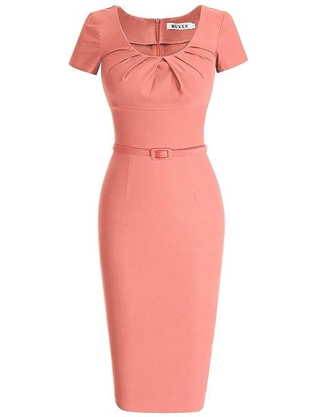MUXXN 1950s Retro Cuello Redondo Corta Mangas Vestido Lápiz Pink Large
