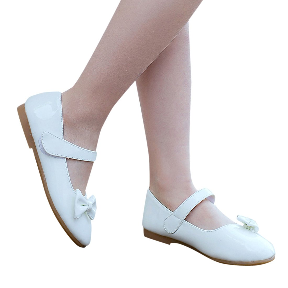 Toddler//Little Kid Lopetve Girls Sweet Bowknot Mary Janes School Wearing Princess Shoes