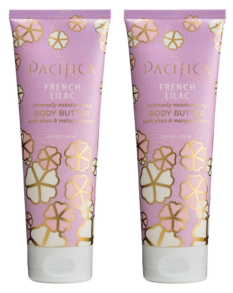Pacifica French Lilac Body Butter (Pack of 2) with Shea Butter, Jojoba Seed Oil, Cocoa Butter, Flax Seed Oil, Kukui Nut Oil and Vitamin E, 100% Vegan and Cruelty-Free, 8 oz