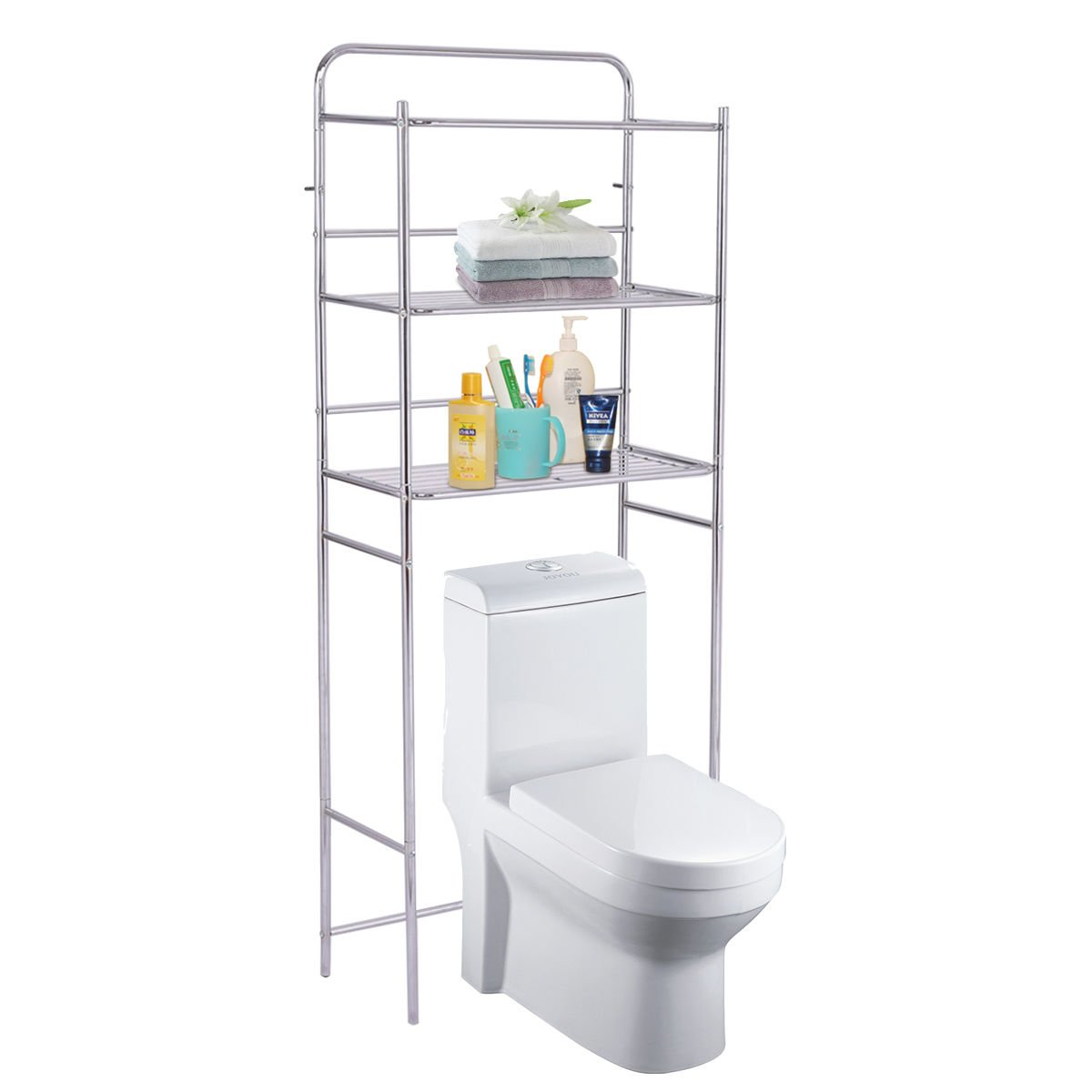 Tangkula 3-Tier Toilet Shelf Bathroom Space Saver Chrome Over The Toilet Shelf Organizer Multi-Layer Classic Design Metal Frame Study Waterproof Free Standing Bathroom Shelves