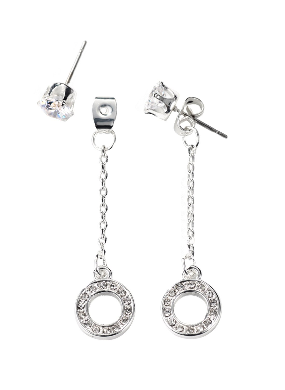 Neoglory Jewelry Silver Color CZ Cubic Zirconia Jacket Earrings for Sensitive Ears
