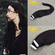 Ugeat 14 inch #1B Natural Black Skin Weft Tape in Virgin Human Hair Extensions Double Sided Tape Remy Hair 10pcs 25g/pack