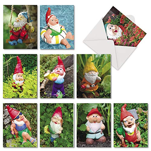 Gnome Notes - 10 Assorted All Occasion Blank Cards with Envelope (4 x 5.12 Inch) - Dwarf Statue Greeting Card Set - Garden Friends, Boxed All-Occasion Stationery Notecard Pack AM6841OCB-B1x10