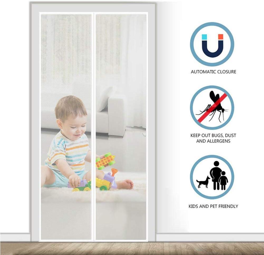 AMCER Cortina Mosquitera para Puertas 85x220cm Mosquitera Puertas, Adsorción magnética Plegable, Fácil de Instalar, Puertas/para Pasillos - Blanco