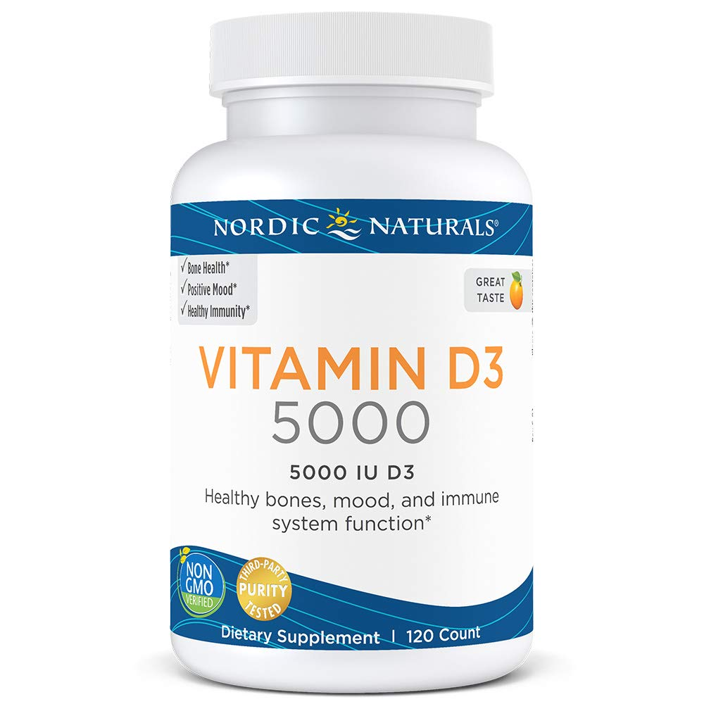 Nordic Naturals Vitamin D3 5000 - Potent Dose of Vitamin D3 for Bone Health, Mood and Sleep Rhythm Support, and Immune System Function*, Orange, 120 Count by Nordic Naturals