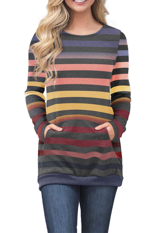 FIYOTE Womens Casual Color Block Long Sleeve Tunic Sweatshirt Tops with Kangaroo Pocket