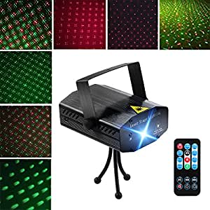 LED Projector Laser Lights, Blingco Mini Auto Flash RG Led Stage Lights Sound Activated for DJ Disco Party Home Show Birthday Party Wedding Stage Lighting with Remote Control (Black)