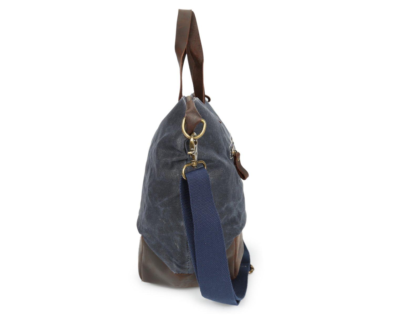 Color : Blue, Size : M Rouroumaoyi Mens Messenger Bag Hand Shoulder Bag Oil Wax Canvas with Crazy Horse Bag Waterproof Unisex