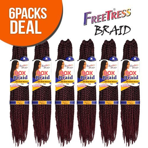 FreeTress Synthetic Hair Crochet Braid Medium Box Braids (6-Pack, (Crochet Boxes)