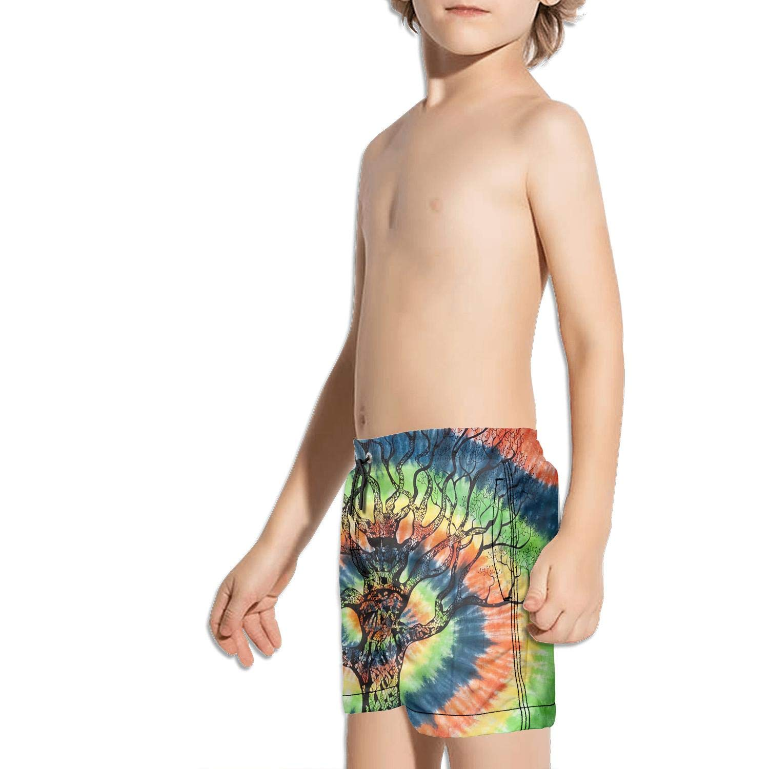 FullBo Tie Dye Fabric Designs Colorful Little Boys Short Swim Trunks Quick Dry Beach Shorts