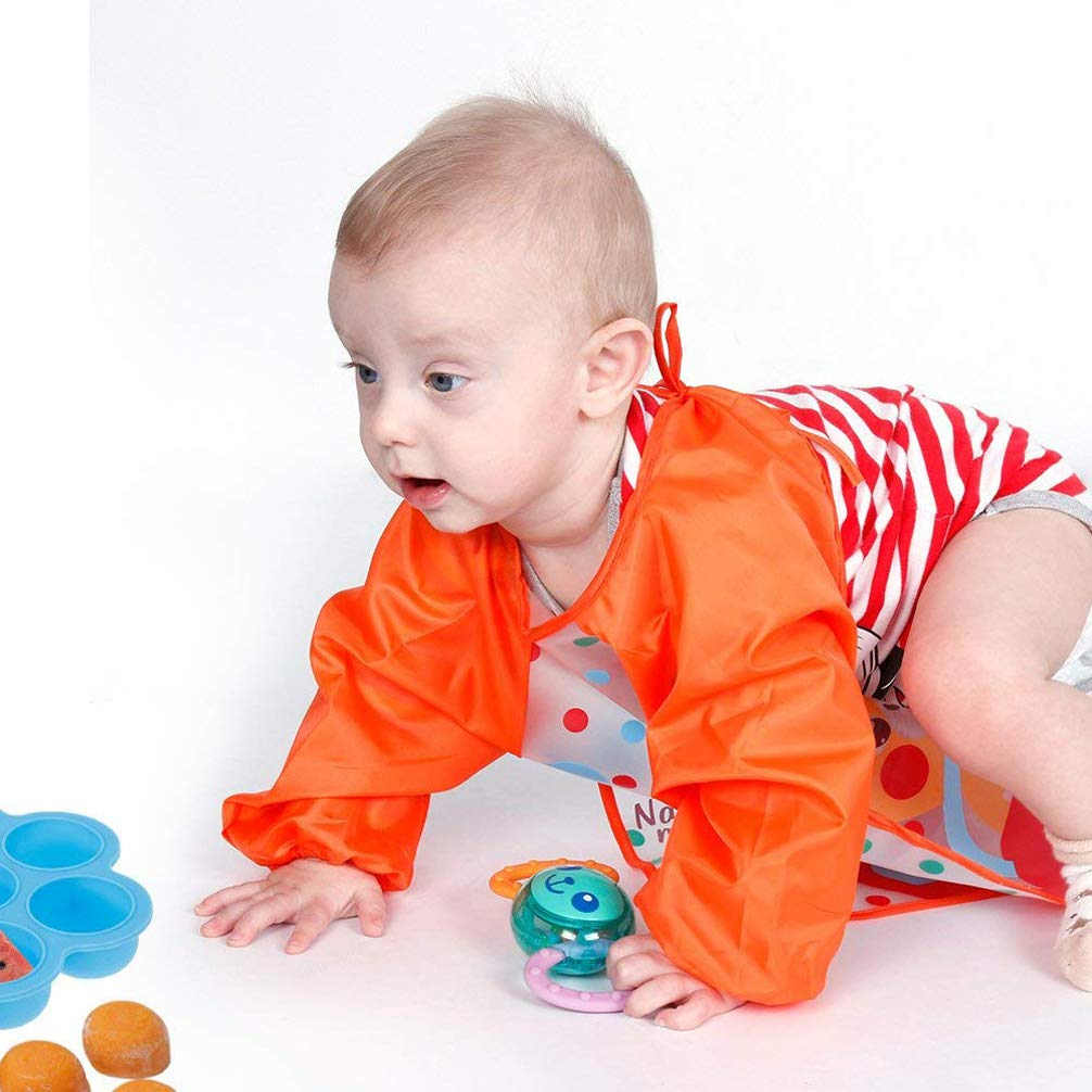 Yeelan 3 piezas Baberos para beb/és con mangas Impermeable Manga larga babero EVA Unisex Babies Delantal para beb/és//lactantes peque/ños que juegan la pintura naranja + azul + verde