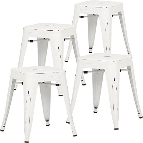 Poly and Bark Trattoria 18 Stool in Distressed White Set of 4