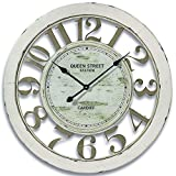 Whole House Worlds The Stockbridge Oversized White Ringed Wall Clock, Rustic, Repurposed Vintage Style, Distressed Painted Finish, 1 AA Battery Required, Over 2 Ft Diameter, By