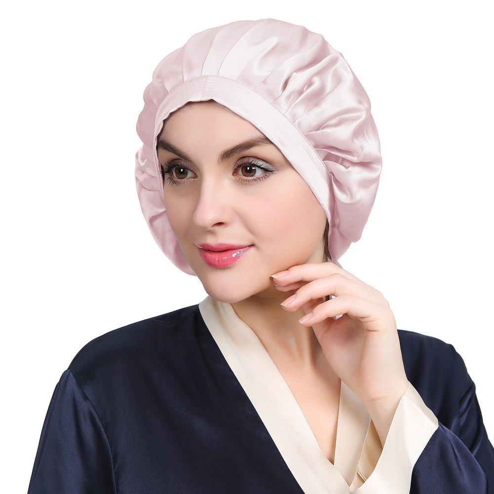 LilySilk Womens Silk Cap for Sleep Traceless Half Black Elastic 100 Pure Mulberry Silk 19 Momme Flat Cap Sleeping for Hair Light Plum