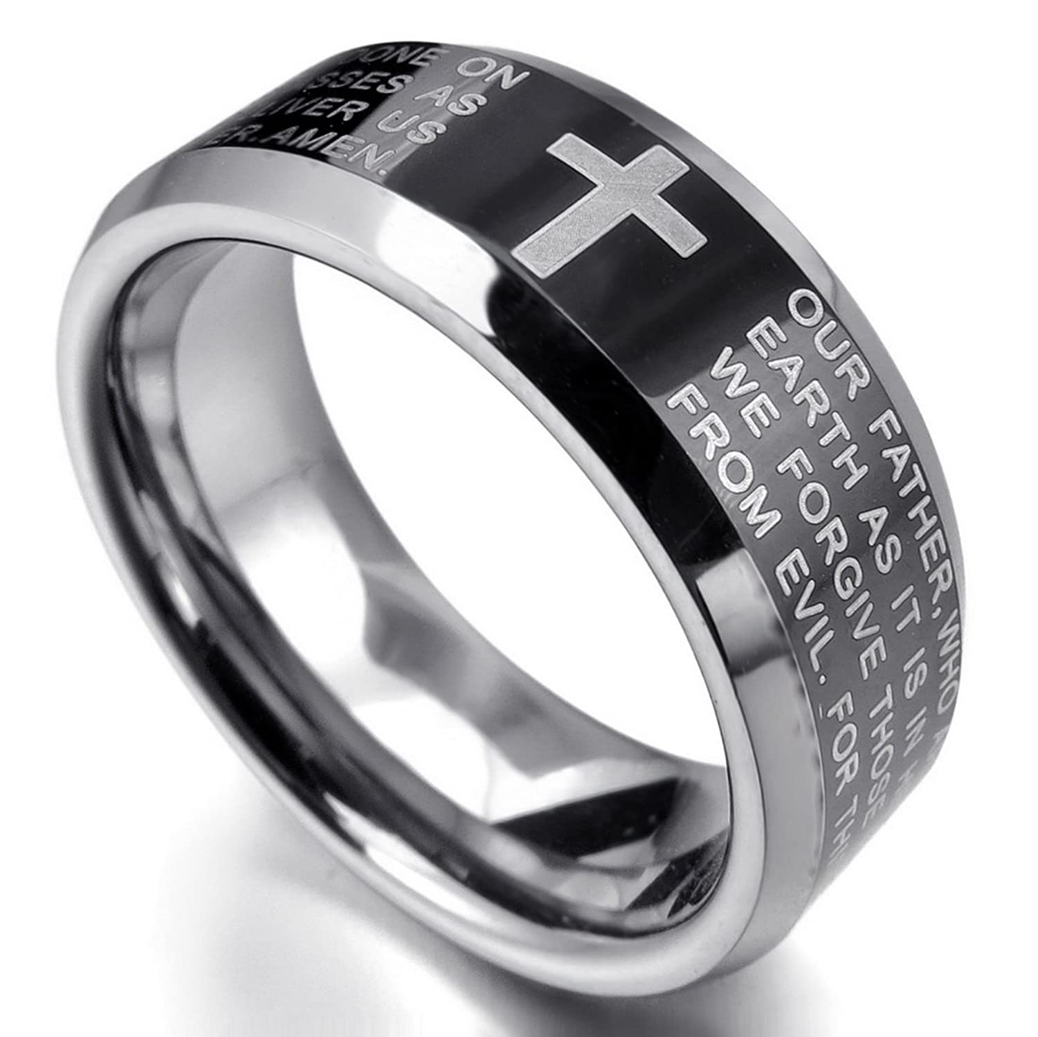 Amazon com  INBLUE Men s Tungsten Ring Band Black Silver Tone Comfort Fit  Cross English Bible Lords Prayer  JewelryAmazon com  INBLUE Men s Tungsten Ring Band Black Silver Tone  . Mens Cross Wedding Band. Home Design Ideas