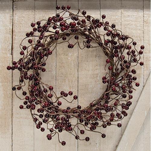 Heart of America Waterproof Berry Wreath Burgundy 18''