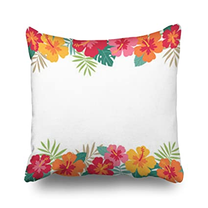 Amazon.com: Sneeepee Decorative Throw Pillows Covers Hibiscus Palm ...