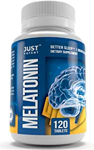 Melatonin 10mg by Just Potent | The Better Sleep Aid | 120 Count | Fast Acting - Zero Grogginess - Non-Habit Forming