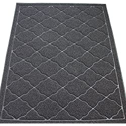 KW Pets Non-Toxic Cat Litter Mat, Jumbo Size (47x35-Inch), Gray
