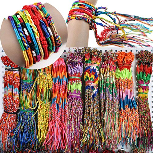 2017 Gift!Elevin(TM)20Pcs 40Pcs 50Pcs 100Pcs Fashion Women Girls Wholesale Jewelry Lot Braid Strands Friendship Cords Handmade Bracelets,Gift for your…