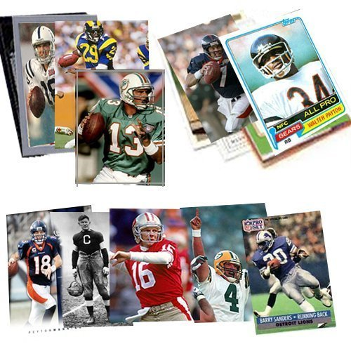40 Football Hall-of-Fame and Superstar Cards Collection Including Players such as Jim Thorpe , Jerry Rice , Joe Montana , Barry Sanders, Emmitt Smith , John Elway, Peyton Manning , Tom Brady, Dan Marino, Thurman Thomas , and Jim Kelly. Ships in Protective Plastic Case Perfect for Gift Giving. Every Package is guaranteed 1 Joe Montana Card ! ()