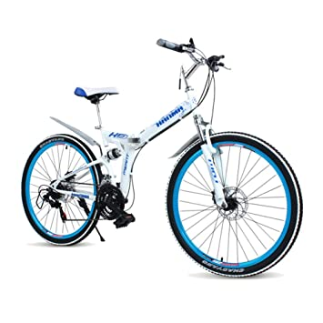LETFF Bicicleta Plegable para Adultos De 24 Pulgadas, 21 Frenos De Disco De Velocidad Dobles