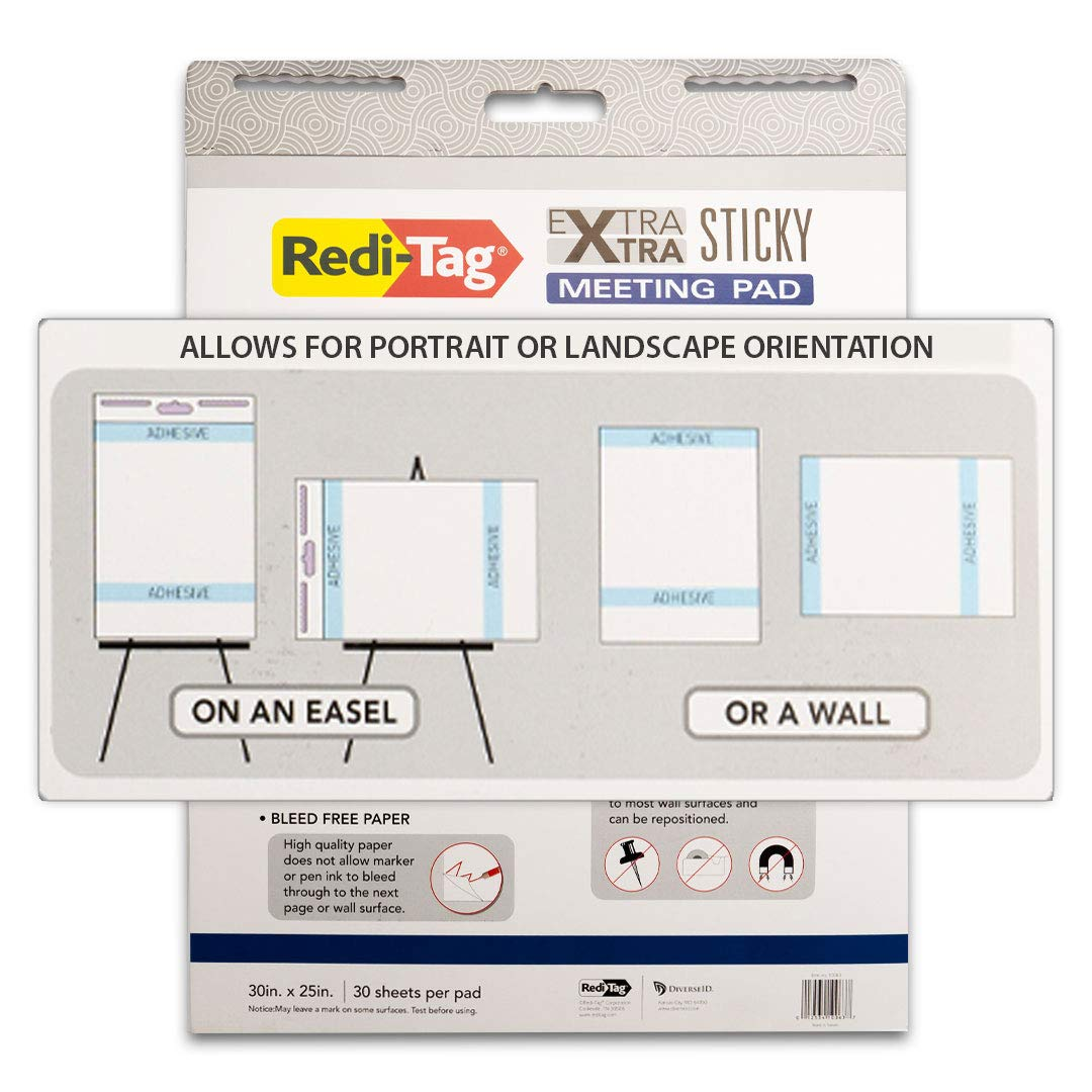 25 x 30 2-Pack 30 Sheets//Pad Sticky Wall Pad//Easel Pad Redi-Tag Extra Xtra Easel Meeting Pad 10063 Hang Vertical or Horizontal White
