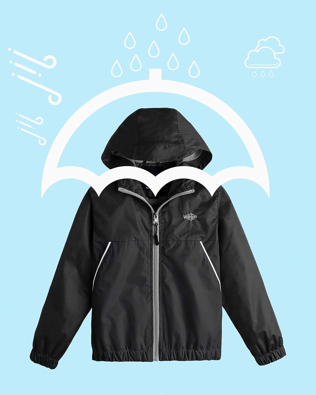 Wantdo Boys Lightweight Rain Jacket Windproof Outerwear Hooded Windbreaker