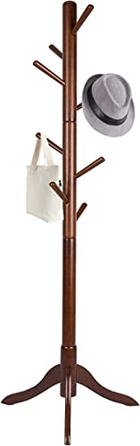 Vlush Free Standing Coat Rack, 8 Hooks Wooden Coat Hat Tree Coat Hanger Holder Enterway Hall Tree with Solid Rubber Wood Base for Coat, Hat, Clothes, Scarves, Handbags, Umbrella-Coffee