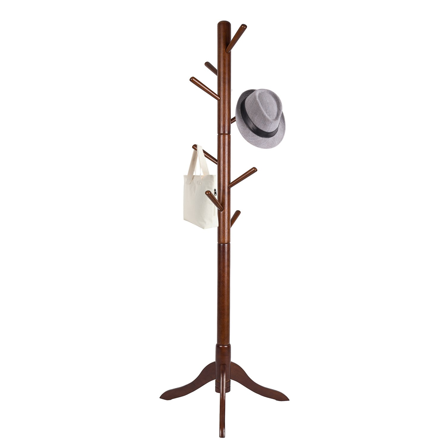 Vlush Free Standing Coat Rack, 8 Hooks Wooden Coat Hat Tree Coat Hanger Holder Enterway Hall Tree with Solid Rubber Wood Base for Coat, Hat, Clothes, Scarves, Handbags, Umbrella-Coffee