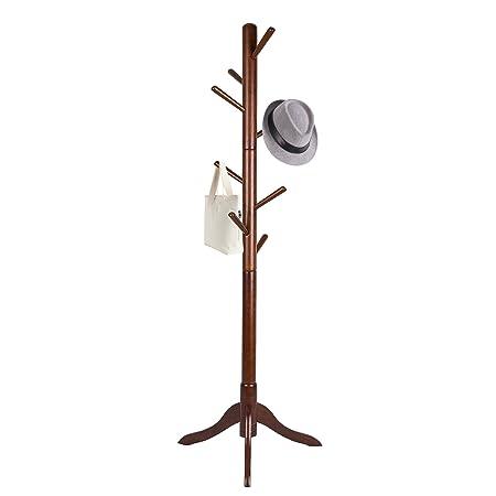 Vlush Free Standing Coat Rack,Wooden Coat Hat Tree Coat Hanger Holder Enterway Hall Tree with Solid Rubber Wood Base for Coat,Hat,Clothes,Scarves,Handbags,Umbrella- 8 Hooks, Brown