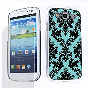 Duo Package: Hard Cover Case (Victorian Flowers Design Black/Blue) + One Tough Shield (TM) Clear Screen Protector for Samsung Galaxy S-III S3 (AT&T T-Mobile Sprint Verizon)