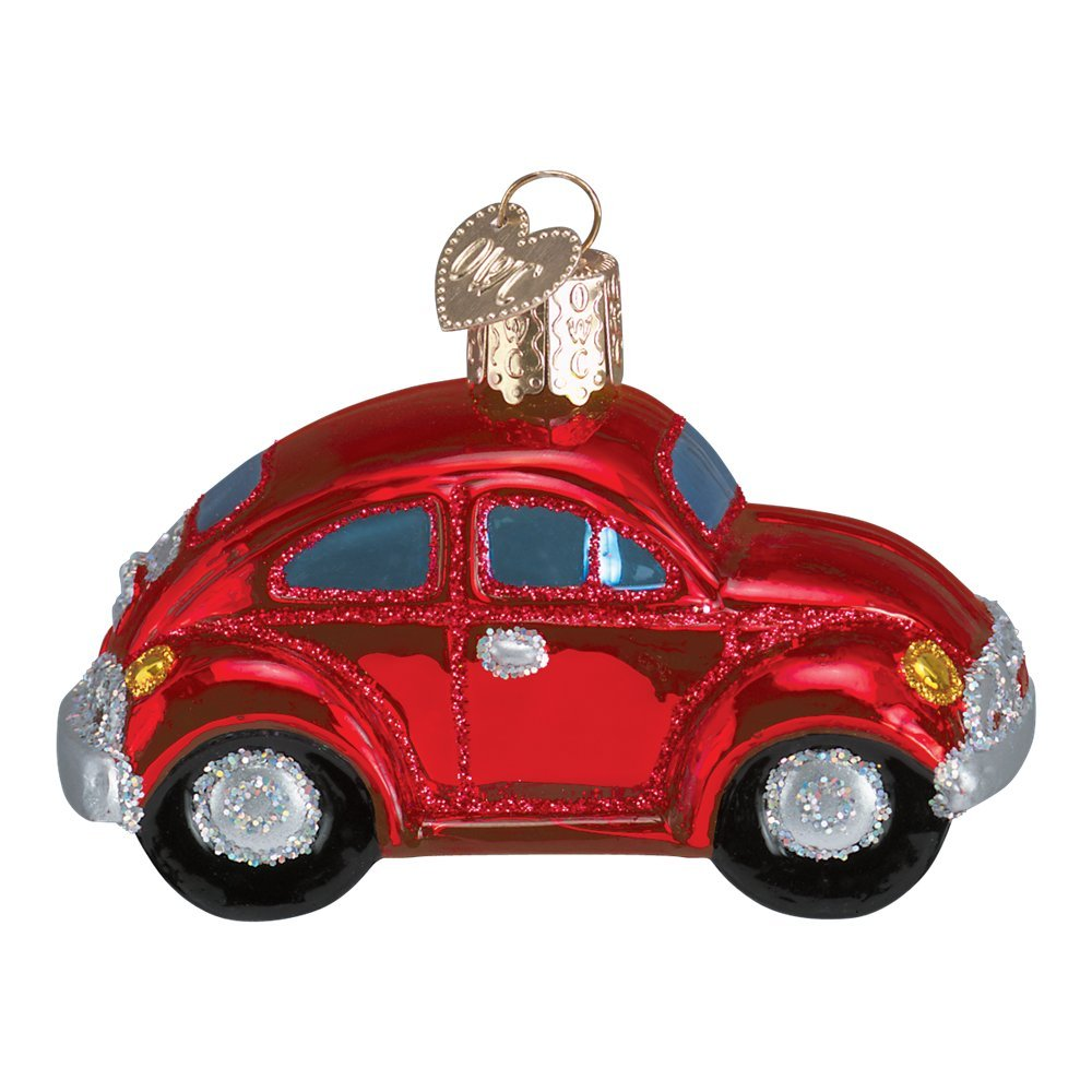 Old World Love Bug Car Glass Blown Ornament (Red)
