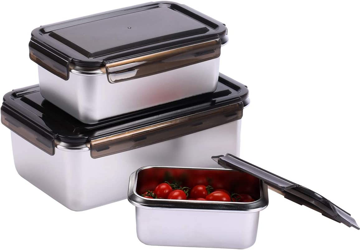EAMATE Stainless Steel 316 Food Container, Large Capacity Leak-proof Nested Storage Box (161oz in total: 94oz/47oz/20oz), Great for Meal Prep Lunch and Outing, Set of 3 (Rectangle)