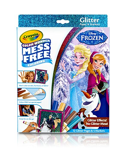Crayola, Frozen, Color Wonder Mess-Free Coloring Glitter Paper and Markers, Art Tools, Great for Travel (Frozen Coloring)