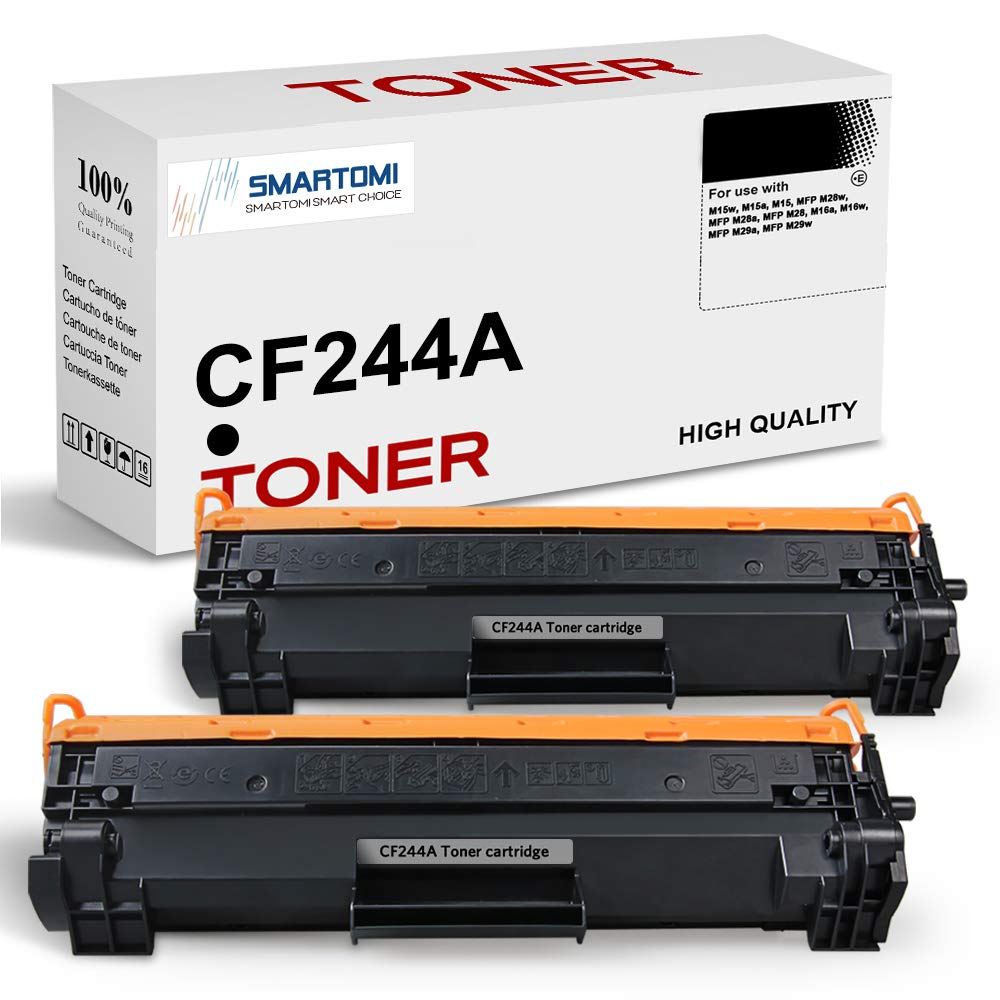 SMARTOMI 2PK CF244A 44A Compatible Black Toner Cartridges HP CF244A for used with HP LaserJet Pro M15w, M15a, M15, MFP M28w, MFP M28a, MFP M28, M16a, M16w, MFP M29a, MFP M29w (With Chip, 1000 Pages)
