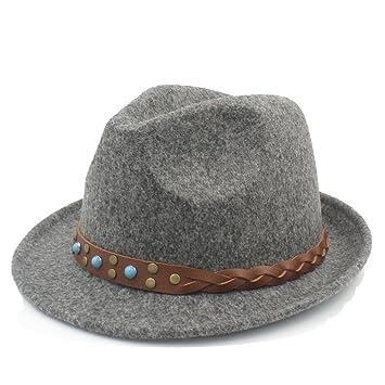 Fang-Gorros, Mujeres de Lana Pura Chapeau Femme Fedora Hat para Caballero Sombrero de