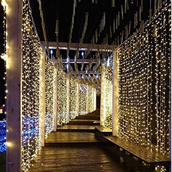 Christmas Light Curtains.Dlpin Ul Safe 304 Dm 300lww 12 Led 9 8ft Linkable Curtain Icicle Fairy String Lights With 8 Modes Warm White